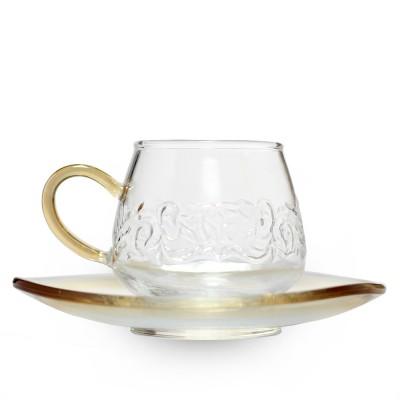 """Стеклянная чашка с блюдцем """"Золото"""""""
